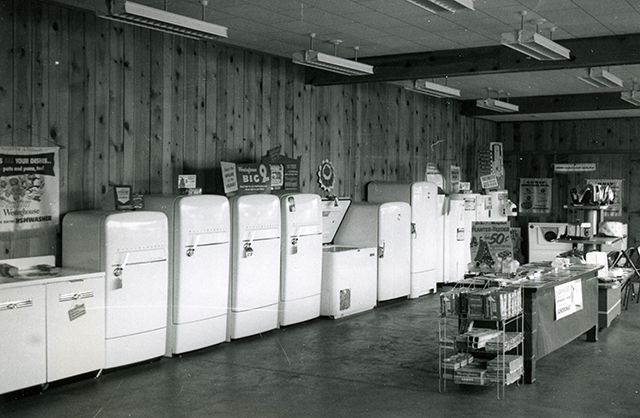 Photo of new refrigerators in 1952.